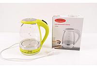 Чайник электрический Wimpex 1,5 литра (Стекло) с подсветкой. Чайник для дома и офиса.
