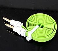 Аудио-кабель AUX 3.5 jack/M/M, лапша толстая 2м, переходник aux
