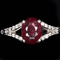 Кольцо серебряное 925 с натуральным рубином р17.35