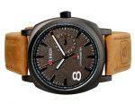 Curren стильные молодежные  часы черного цвета на кожаном ремешке с гравировкой