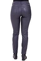 Женские демисезонные брюки под кожу синего цвета от 50 до 60 размера