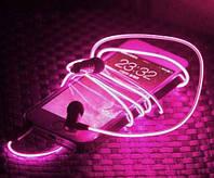 Светящиеся проводные вакуумные наушники с микрофоном Glow MDR 618 Pink пульсируют в такт музыке