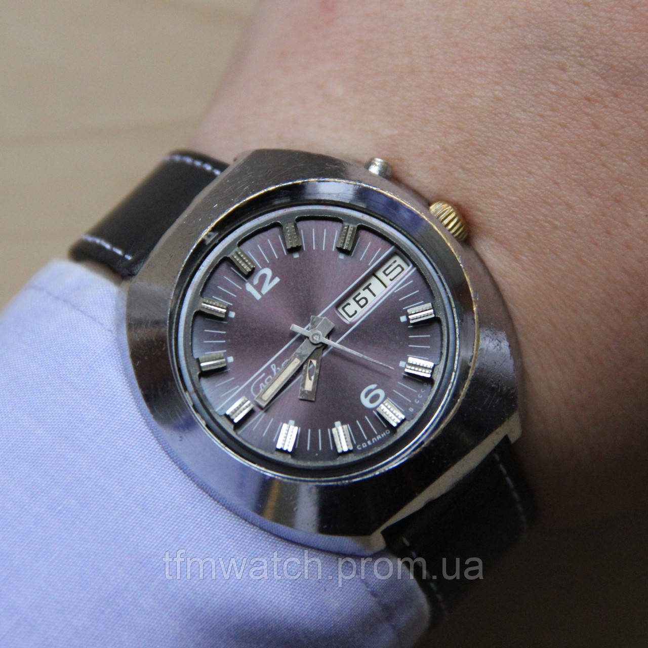 a1efcf26d1e2 Слава автоподзавод мужские наручные часы СССР - Магазин старинных,  винтажных и антикварных часов TFMwatch в