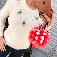 Красивый, мягкий и пушистый, женский свитер с принтом из бусин и страз. РАЗНЫЕ ЦВЕТА