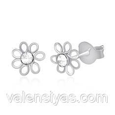 Серебряные серьги-пуссеты Цветочки С1Ст/608