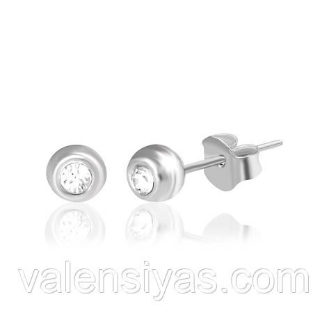 Срібні круглі сережки-гвоздики С1Ст/609, фото 2