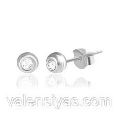Серебряные круглые серьги-гвоздики С1Ст/609