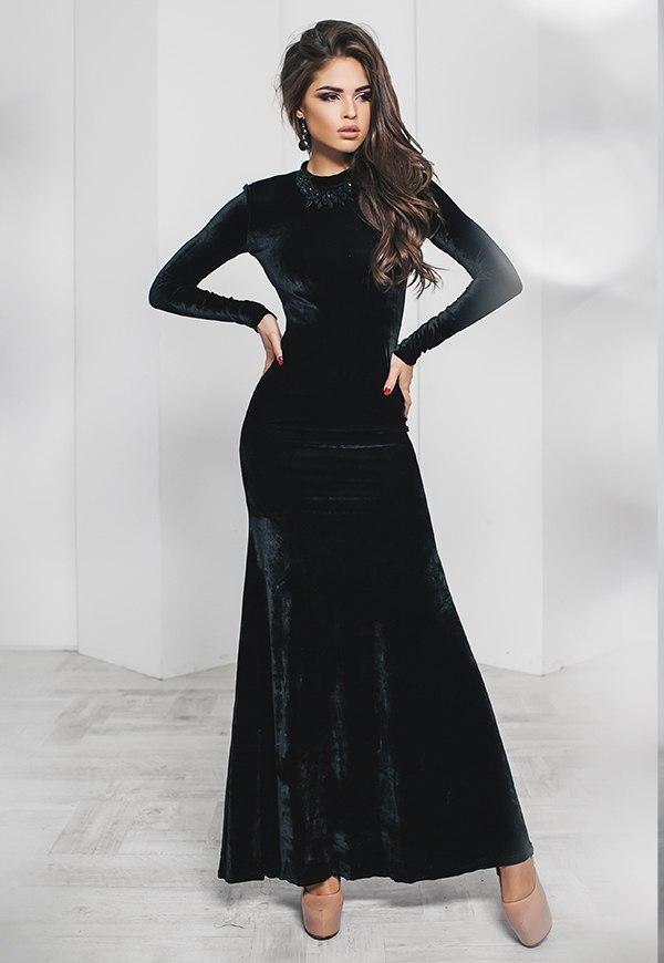 Т2015 Бархатное  вечернее платье в пол
