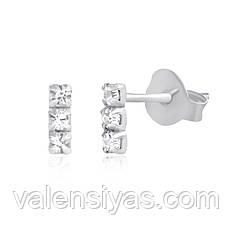 Оригинальные серьги-пуссеты из серебра С1Ст/613