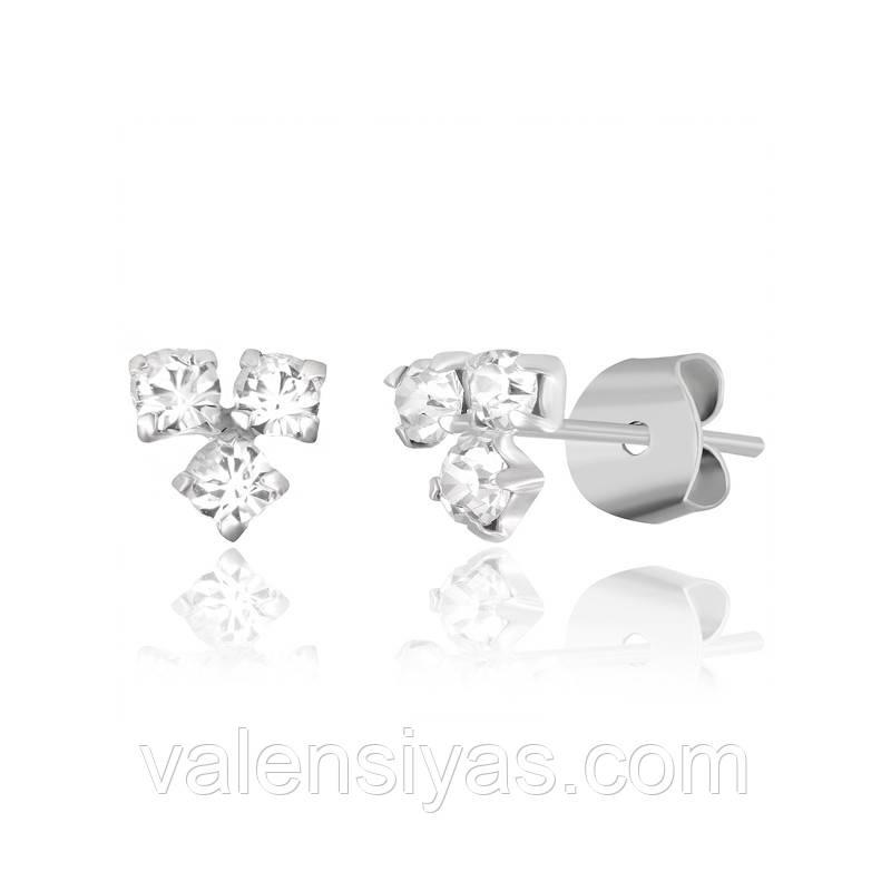 Серьги-пуссеты серебряные с фианитами С1Ст/614