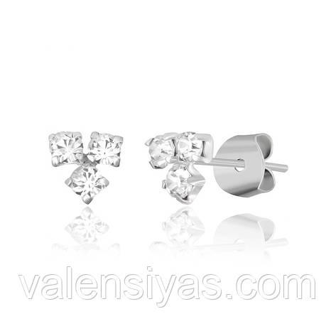 Серьги-пуссеты серебряные с фианитами С1Ст/614, фото 2