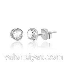 Серьги-гвоздики серебряные круглые С1Ст/615