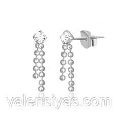 Серьги-гвоздики из серебра с фианитами С1Ст/618