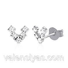 Оригинальные серебряные серьги-пуссеты С1Ст/619