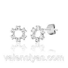 Серебряные серьги-пусеты с белыми фианитами С1Ст/622