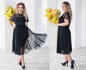 Т2074 Платье сетка\трикотаж  размеры 48-54, фото 2