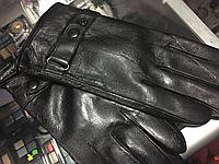 Перчатки мужские из натуральной кожи на кнопке