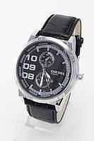 Мужские наручные часы Diesel (серебристый корпус,черный ремешок) (Копия), фото 1