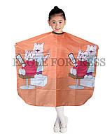 """Детский пеньюар для стрижки оранжевый с рисунком """"Кошки"""" AP90A4H"""