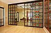 Раздвижная перегородка с разделительными планками и витражным стеклом