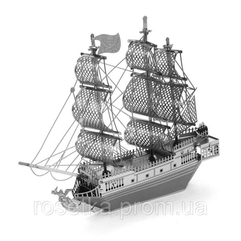 "3D пазл модель ""Пиратский корабль Черная Жемчужина Black Pearl Ship"", Metallic Nano Puzzle, фото 1"