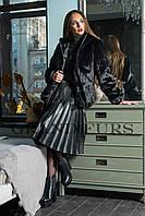 Шуба женская черная шоколадная полушубок в размерах 42-54