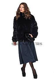 Шуба женская автоледи черная шоколадная полушубок в размерах 42-54