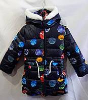 """Куртка парка зимняядетская """"Зонтики""""с опушкой для девочки 3-6лет,темно синяя"""