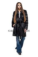 Шуба женская удлиненная черная шоколадная в размерах 42-54