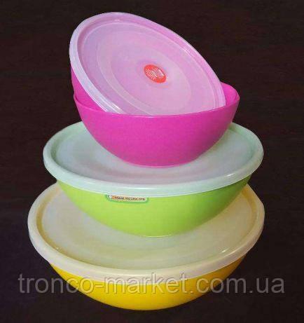 Набор кухонных мисок салатников с крышкой, фото 2