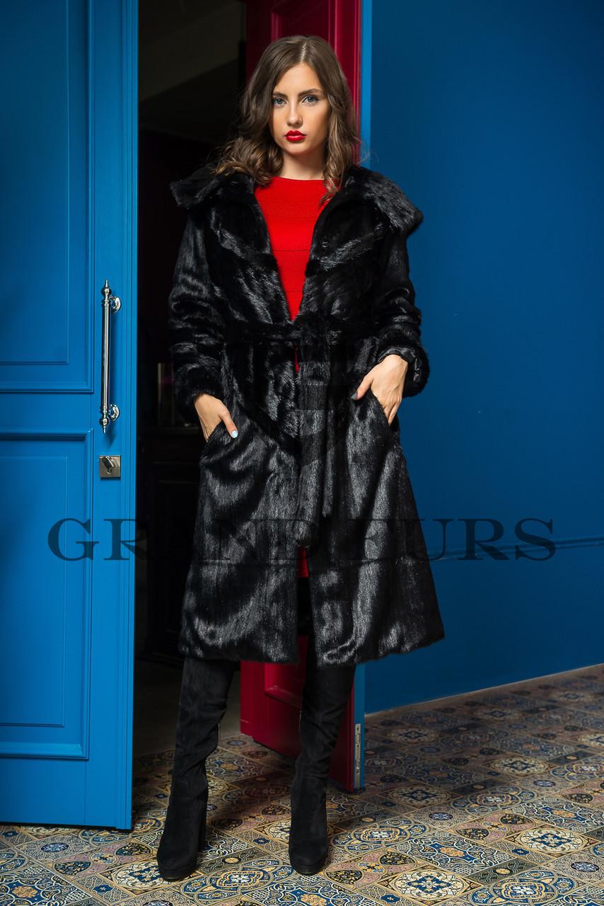 Шуба жіноча довга з капюшоном чорна шоколадна в розмірах 42-54
