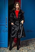 Шуба женская длинная с капюшоном черная шоколадная в размерах 42-54