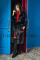 Шуба женская длинная с капюшоном черная шоколадная в размерах 42-54, фото 2
