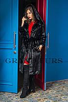 Шуба жіноча довга з капюшоном чорна шоколадна в розмірах 42-54, фото 2