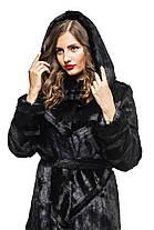 Шуба жіноча довга з капюшоном чорна шоколадна в розмірах 42-54, фото 3