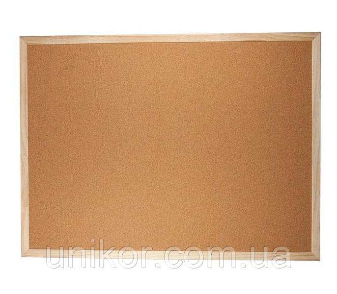 Доска пробковая, 60*90 см., деревянная рамка. BuroMax