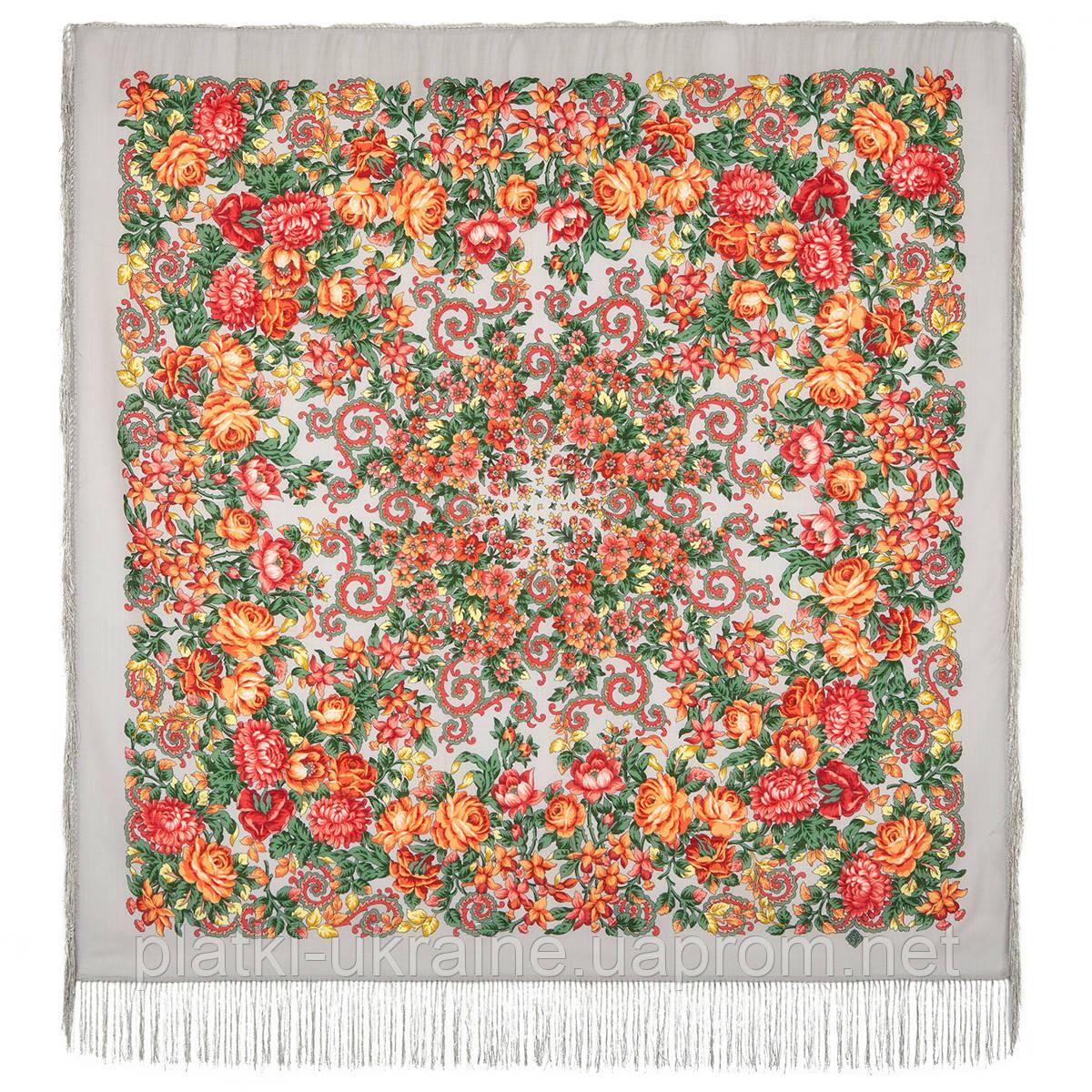 """Платок шерстяной с шелковой бахромой """"Утомлённое солнце"""",511-1 , 125х125 см"""