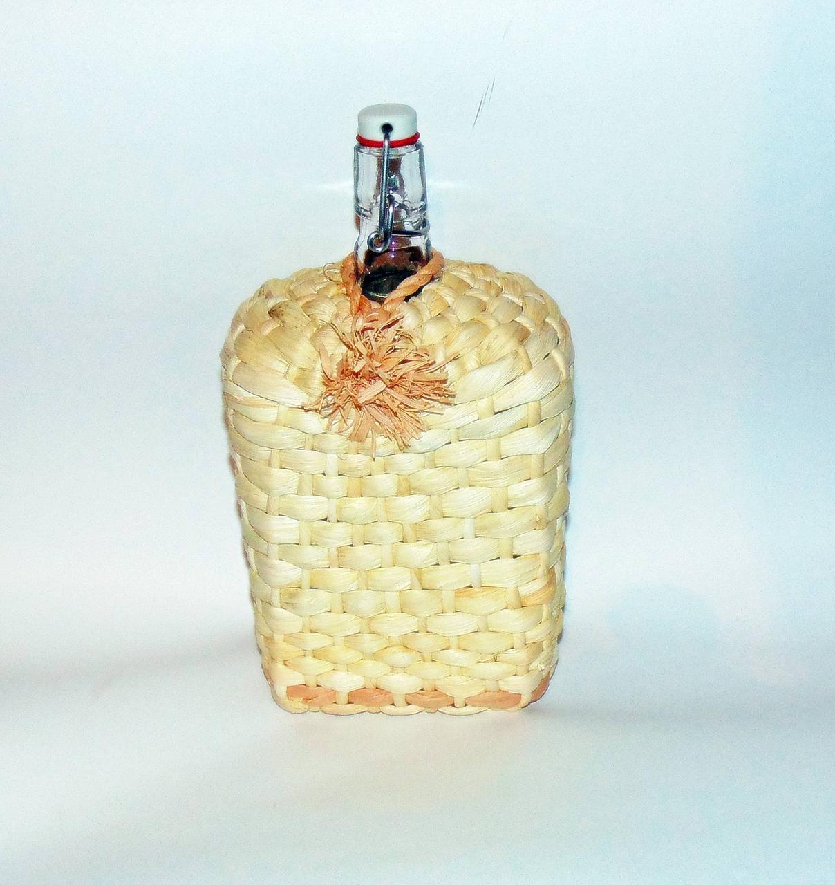 """Пляшка з бугельної пробкою 1,75 """"Вікінг"""" плетіння кукурудзою"""