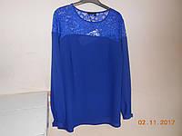 Нарядная синяя блуза батал