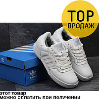 Мужские кроссовки Adidas Calabasas, белого цвета / кроссовки мужские Адидас, кожаные, с мехом, модные
