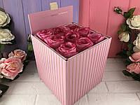 Коробка для цветов (набор 2 шт) розовая