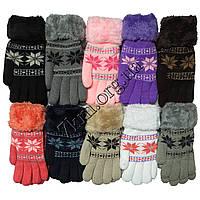 Перчатки шерстяные +махра для девочек и мальчиков Корона 7-10 лет Оптом 5613 S