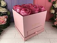 Квадратная коробка со шкатулкой (роз.)