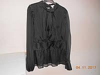 Шифоновая черная блуза с жабо
