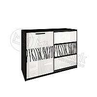 Гостиная Терра белый глянец/черный мат комод 1Д3Ш