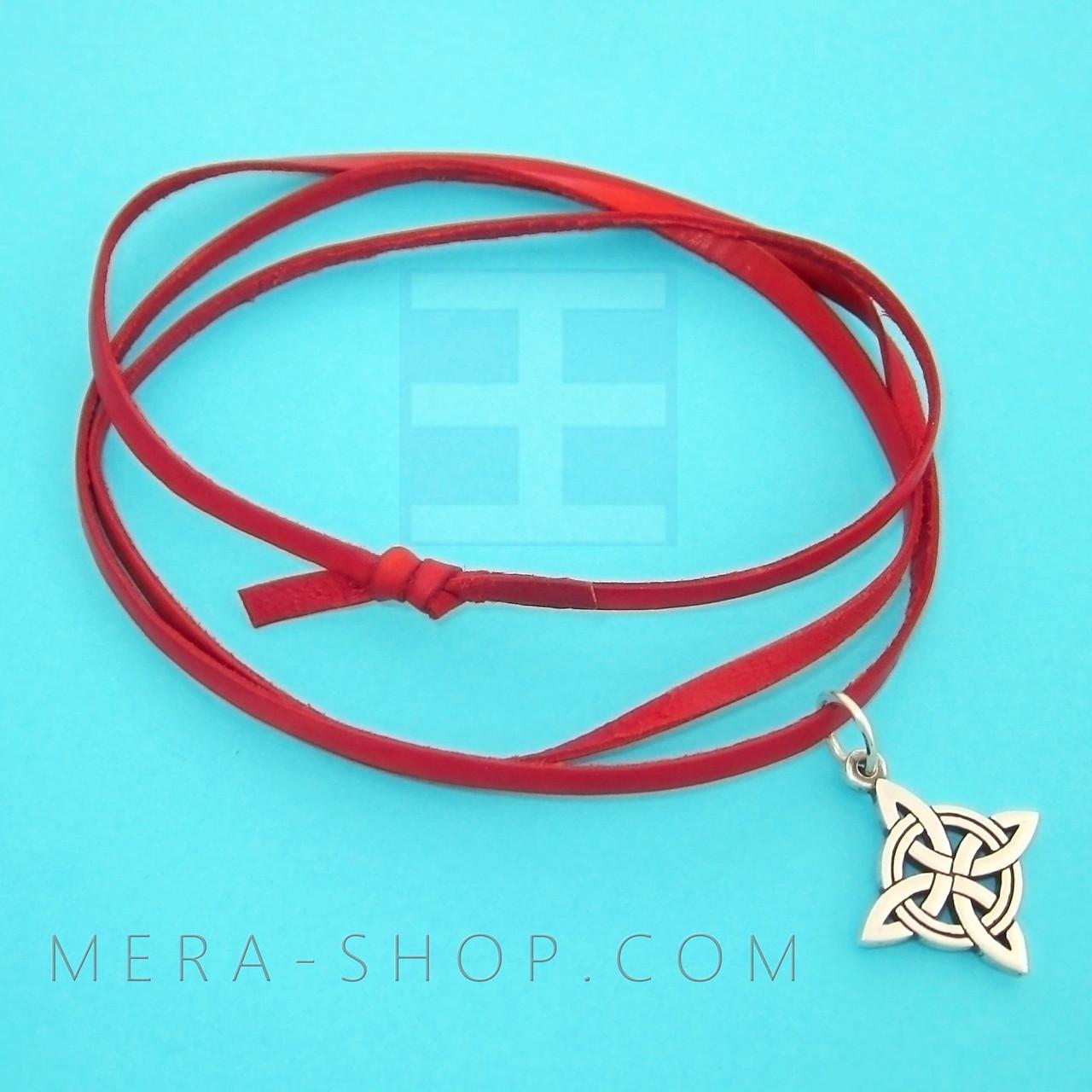 Красная кожаная лента шнурок для кулона (3 х 1 мм, 80 см)