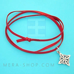 Красная кожаная лента шнурок для кулона