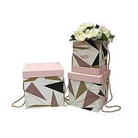 Коробки под цветы, мрамор, набор 3 шт