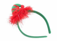 Обруч новогодний с шапочкой красно - зеленый