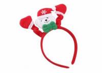 Обруч новогодний с мишкой красный